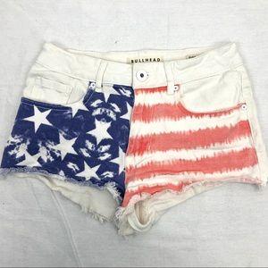 Bullhead white Hi Rise American flag shorts- 5
